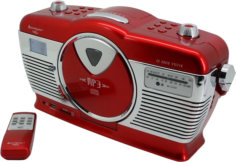Soundmaster Rcd1350ro Retro Ukw Radio Mit Cd Mp3 Spieler Usb Und Sd Slot Sowie Lcd Uhr Mit Wecker Audio Hifi