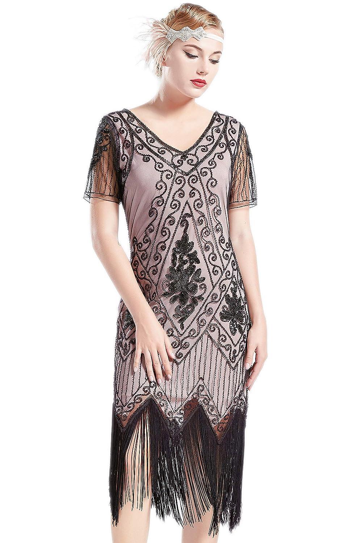 ArtiDeco 1920s Kleid Damen Flapper Kleid mit Kurzem Ärmel Gatsby Motto Party Damen Kostüm Kleid B07KG88Q2K Cocktail Professionelles Design | Beliebte Empfehlung