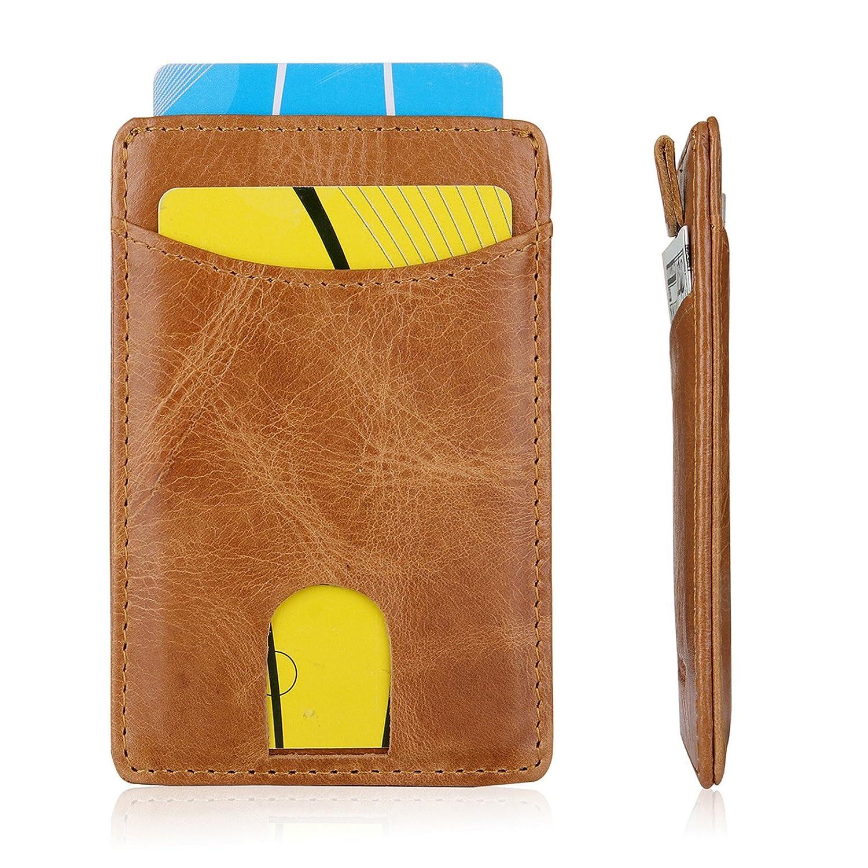 AltomStar Porte Cartes de Crédit Homme Cuir (Marron)