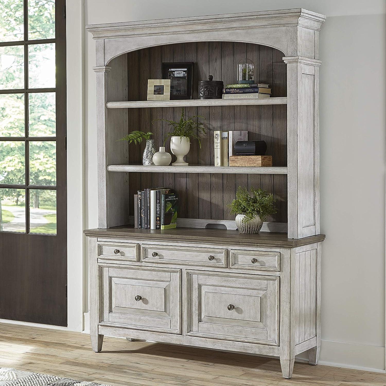 Liberty Furniture Industries Heartland Credenza & Hutch, Antique White