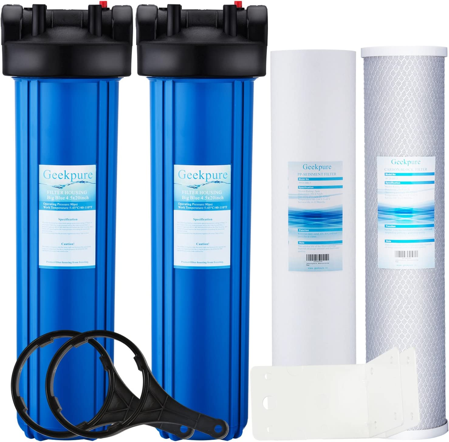 """Geekpure 2 Stage Whole House Water Filter System w/ 20-Inch Big Blue Housing -1 Inch Inlet/Outlet and 4.5""""x20"""" 5 Micron PP + Carbon Filters"""