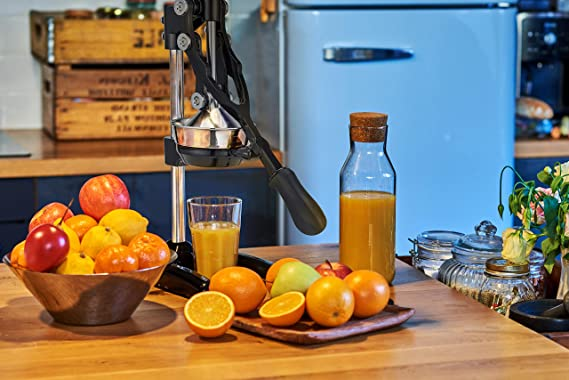 Amazon.com: Zulay Extra Tall Orange Juicer - Manual Orange Juice Squeezer, Fits Tumblers, Tall Glasses and Cups Easily, Lemonade Stands Stand Juicer: ...