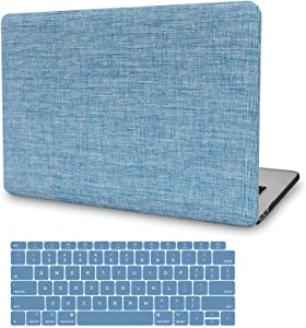 MacBook Pro 13 Inch Case 2019 2018 2017 2016 Release A2159 A1989 A1706 A1708, JGOO Slim Soft Touch Fabric Hard Shell Cover with Keyboard Cover for Apple Mac Pro 13 with/Without Touch Bar, Sky Blue