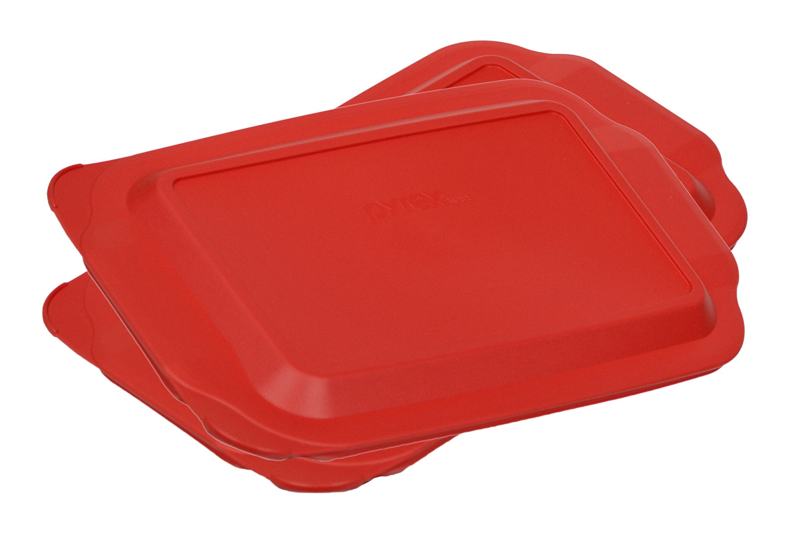 Pyrex 3 Quart 9'' x 13'' Red Rectangular Plastic Lid 233-PC for Glass Baking Dish (2 Pack)