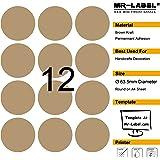 Mr-Label 300 blank brown Kraft etichette - 63,5 millimetri (diametro) - per il laser e getto d'inchiostro - 25 fogli