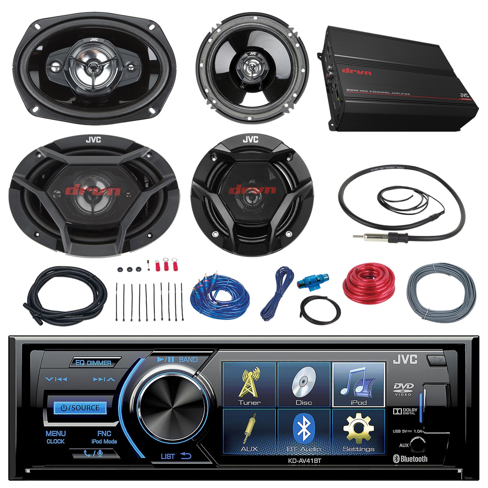 JVC KD-AV41BT 3'' Car DVD Bluetooth Stereo Receiver Bundle Combo With 2x Dual 6.5'' 2-Way And 2x 6x9'' Inch 4-Way Coaxial Speakers + 1000-Watt 4-Channel Amplifier With Install Kit + Enrock AM/FM Antenna