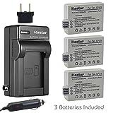 Kastar LP-E5 Battery (3-Pack) and Charger Kit for LPE5, LC-E5E and Canon EOS 450D, 500D, 1000D, Kiss F, Kiss X2, Kiss X3, Rebel XS, Rebel XSi, Rebel T1i Digital Cameras (Tamaño: 3 batteries + 1 charger)