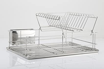 Easy Home - Escurreplatos de acero inoxidable 2 estantes