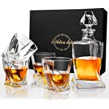 Lighten Life Whiskey Decanter Sets,Crystal Bourbon Decanter with 4 Glass in Gift Box,Whiskey Decanter Set with Glasses for Li