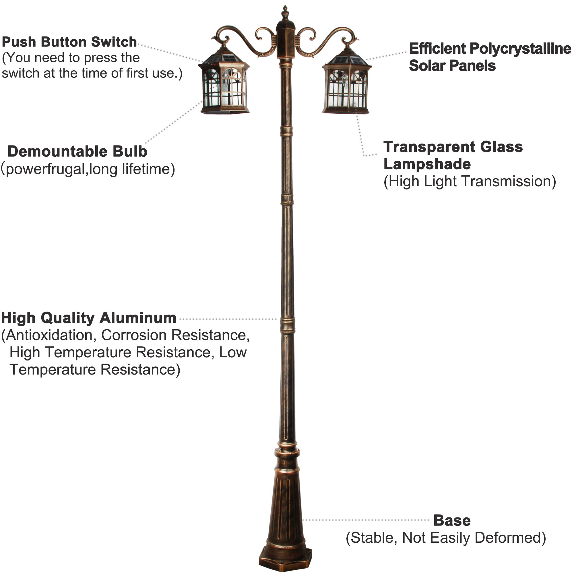 8 feet high outdoor solar lamp post with two heads and LED Lights SL-3801bronze2.45m