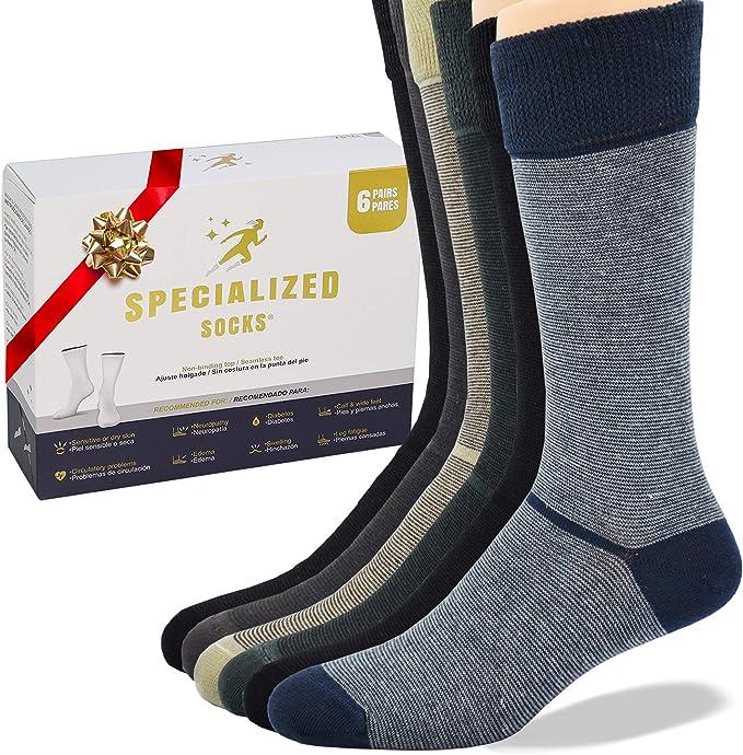 Specialized Socks Calcetines para diabeticos para Hombre Mujer - Calidad Premium Suaves acolchonados lisos delgados rayas y extremadamente cómod