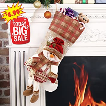 happon classic christmas stockings 18 snowman cute santas toys stockings with snowflakebest christmas