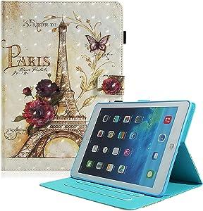 iPad Mini 5 Case, iPad Mini 2 3 4 Case, UGOcase PU Leather 3D Pattern Slim Fit Folio Multi Angles Viewing Stand Smart Cover Auto Sleep Wake Pen Holder for Apple iPad Mini 1 2 3 4 5, Eiffel Tower