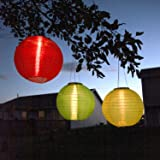 """3 Solar Hanging Nylon Lanterns, Red, Yellow, and Green, 12"""", Triple LEDs, Auto Timer, Water Resistant, Rechargeable Batteries Included"""