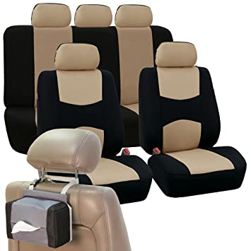FH GROUP FB051115 Multifunctional Flat Cloth Seat Covers Airbag Compatible Split