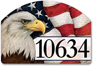 Yard Design Studio M American Eagle Decorative Address Marker Yard Sign Magnet, Made in USA, Superior Weather Durability, 14 x 10 Inches