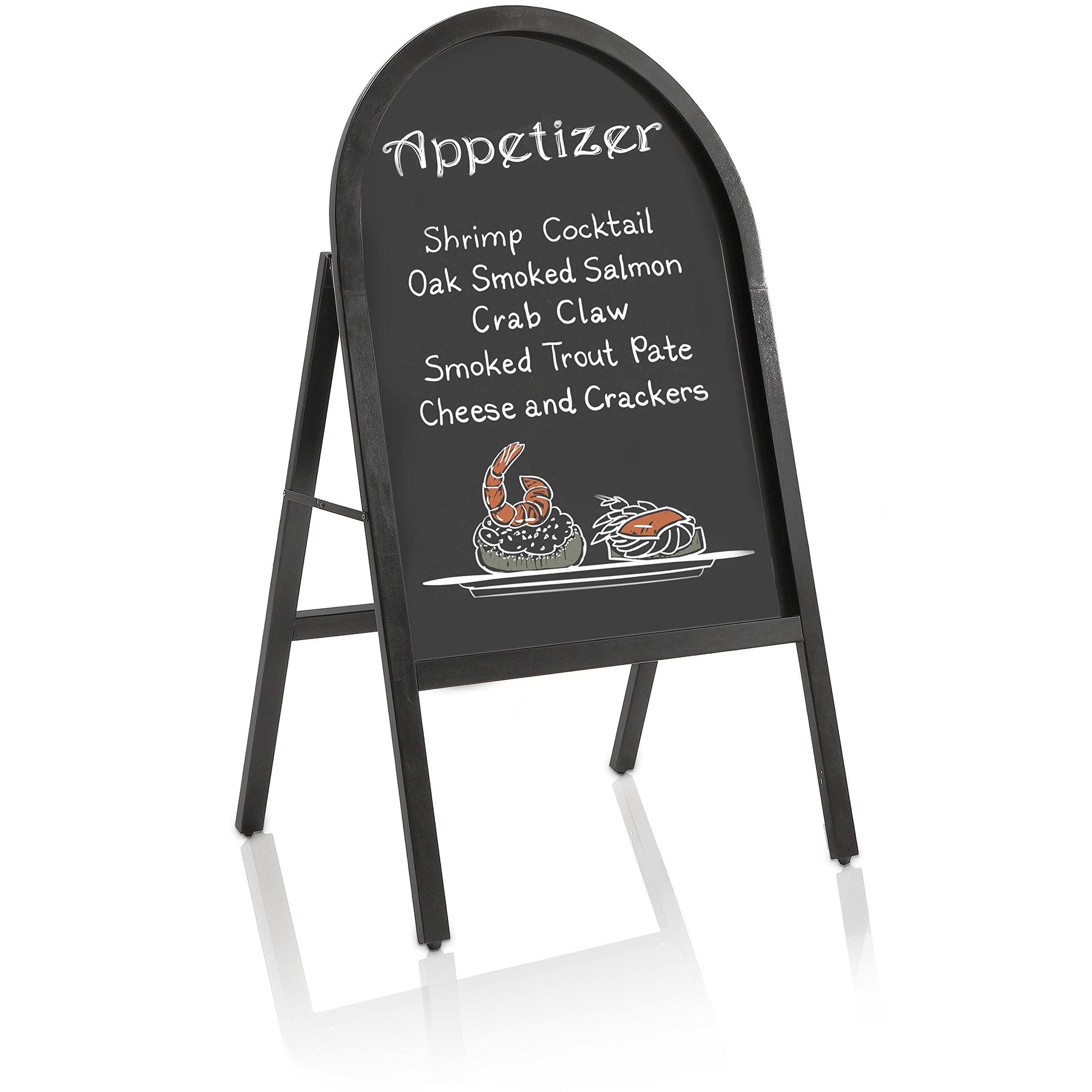 45-Inch Arched Frame Wood Heavy-Duty Sidewalk Chalkboard Easel/Free Standing Store Front Sandwich Board