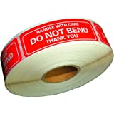 "Handle With Care - Do Not Bend - Thank You Shipping Stickers, 1""x3"", 1000 Per Roll (1 Roll)"