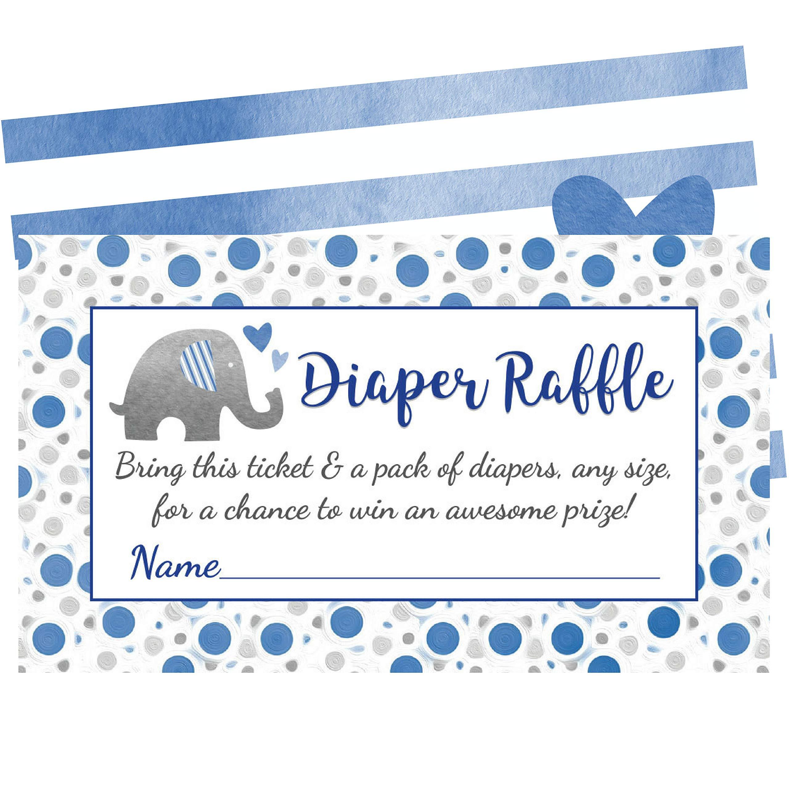 Blue Elephant Diaper Raffle Tickets - 50 Cards for Fun Boy Baby Shower Games