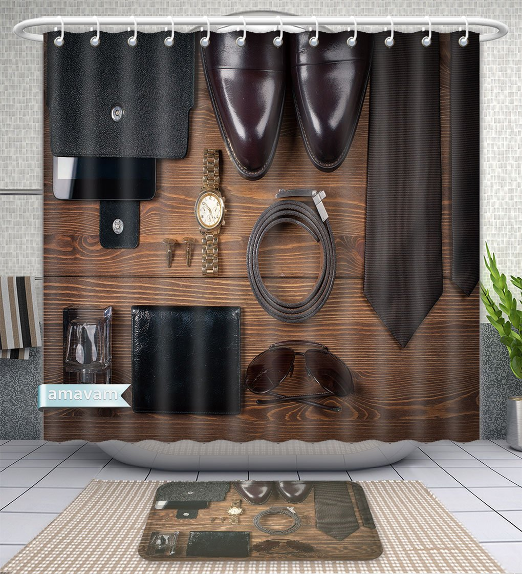 Unique Custom Bathroom 2-Piece Set Wood Texture Men S Everyday Objects On A Dark Background Business Meeting Accessories For The Shower Curtains And Bath Mats Set, 60''Wx72''H & 23''Wx16''H