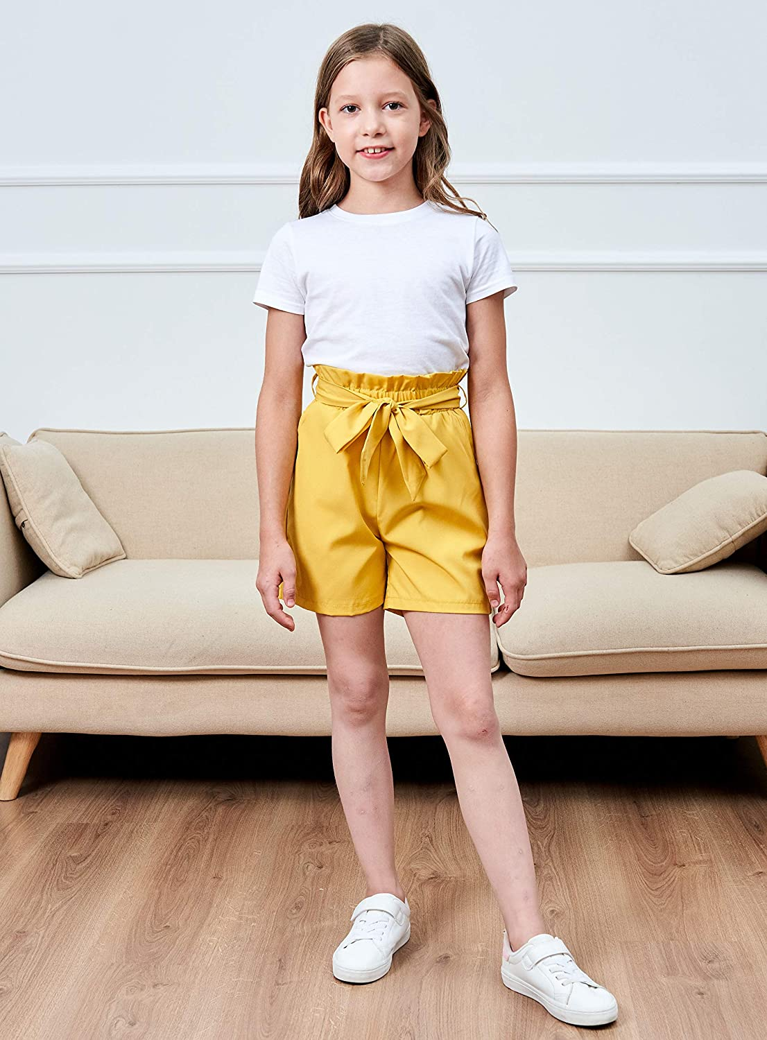 Agitation Girls Casual Elastic Paperbag Waist Striped Summer Shorts with Pockets