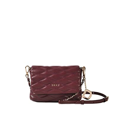 4fb72d1361 DKNY Mini Cordovan Quilted Leather Cross-body Bag Burgundy Leather   Amazon.co.uk  Clothing