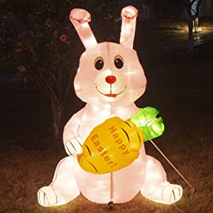 PEIDUO 4 FT Easter Bunny Inflatables Outdoor Decor with 150 Warm White LEDs, Blow up Indoor, Yard, Garden Lawn Decorations