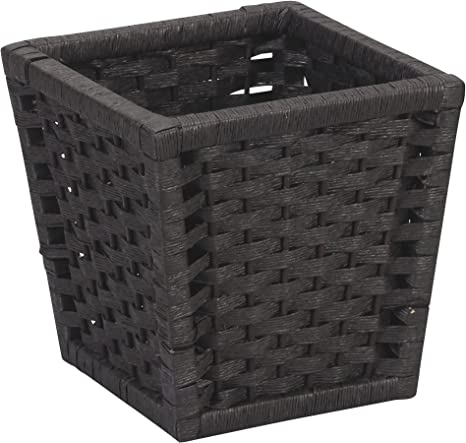 Black Stain Household Essentials ML-7032 Paper Rope Wicker Waste Basket For Bedrooms /& Bathrooms