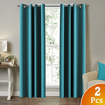 curtain amazon thermal ac me blackout curtains chevron lattice room print insulated darkening hlc dp teal blue drapes com