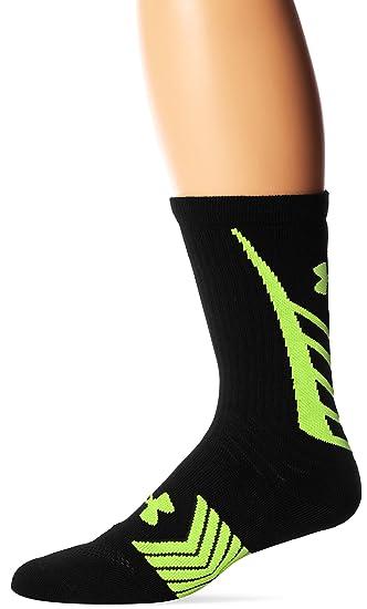 Under Armour Menu0027s Undeniable All Sport Crew Socks (1 Pair), Black/Hi