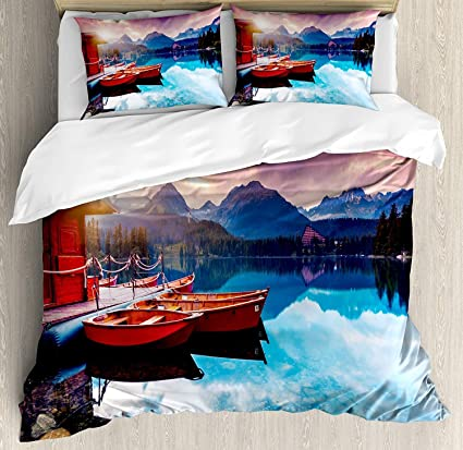 Amazon Com Funy Decor Landscape Bedding Set Peaceful Mountain Lake