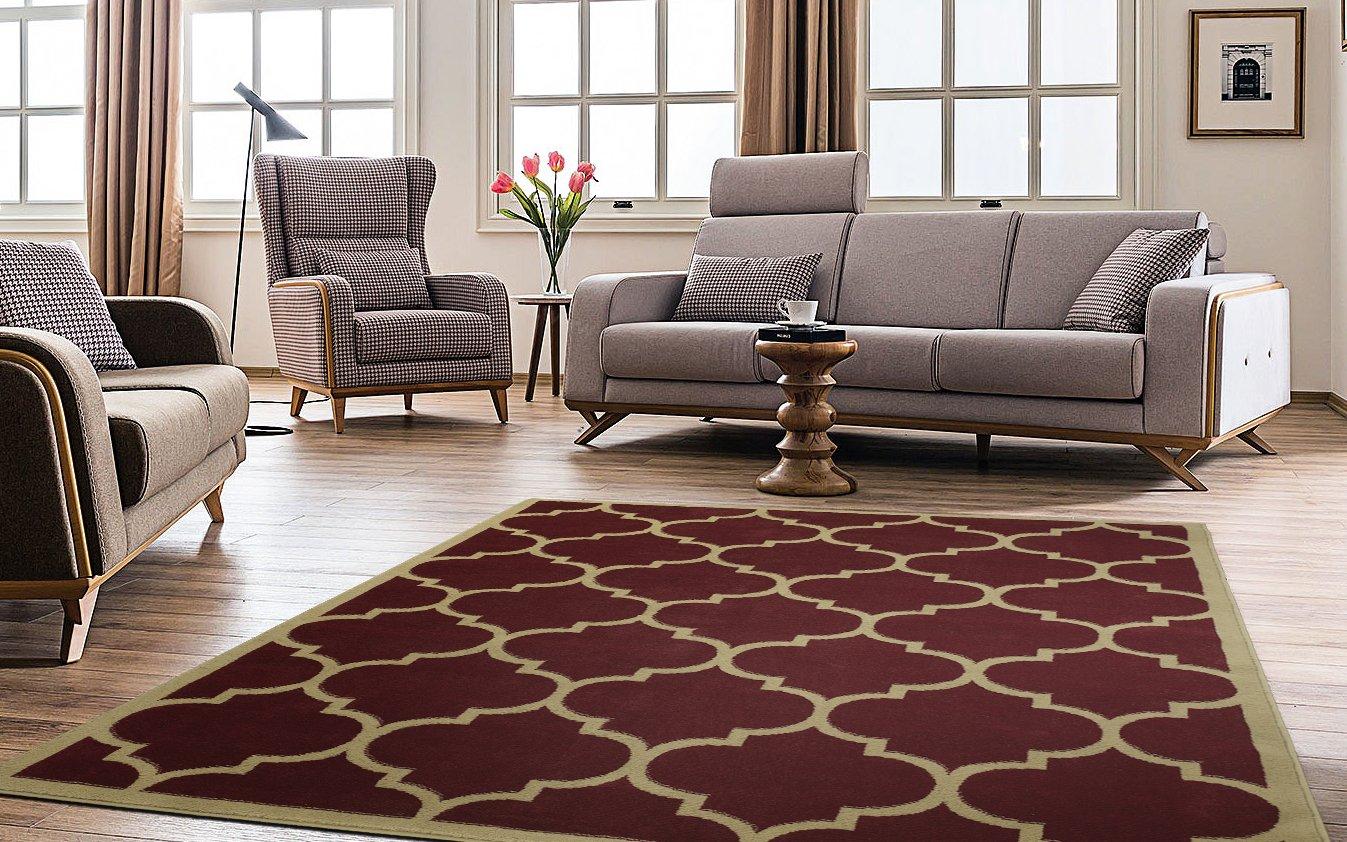 Ottomanson Paterson Collection Contemporary Moroccan Karpet Shaggy Premium 160x230 Turkiye Trellis Design Lattice Area Rug 710 X 910 Dark Red Home Kitchen