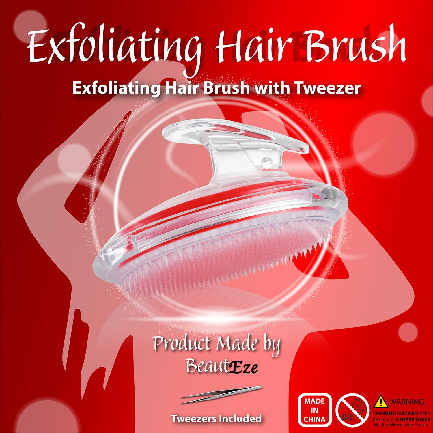 BeautEze Exfoliating Body Brush and Tweezers set for Treating and Preventing Razor Bumps and Ingrown Hairs for Men and Women,Flexible Bristle Brush to Eliminate Shaving Irritation and Dry Skin for Face, Armpit, Legs, Bikini Line