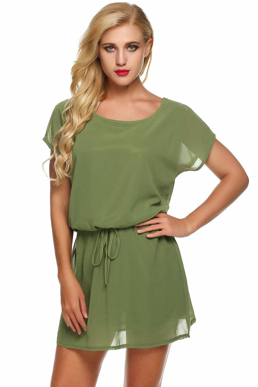CRAVOG Damen Casual Minikleid Sommerkleid Strandkleid Partykleid ...
