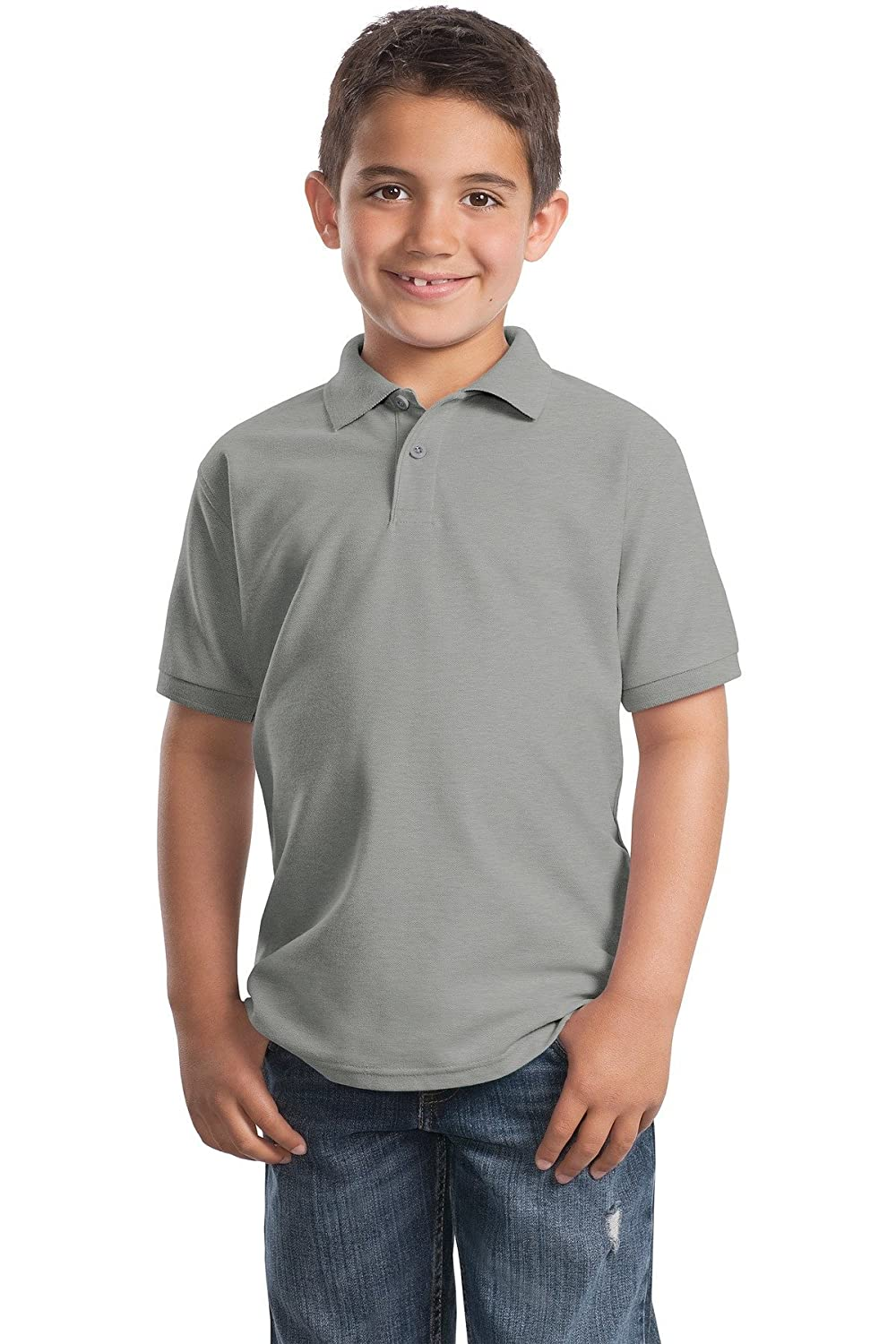 Port Authority Youth Silk Touch Polo Y500 Cool Grey L