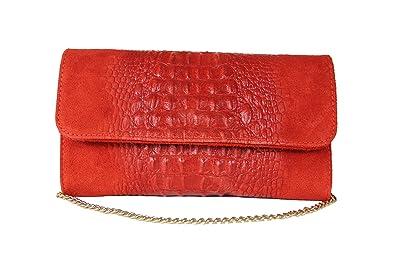 136787be78d28 Schultertasche Handtasche Damentasche Abendtasche Clutch rot Leder ...