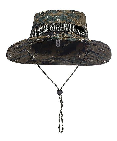 0ca02203362d8 Fishing Bucket Hat Camping Hunting Jungle Camo Fisherman Hat (23 black and  green) at Amazon Men s Clothing store
