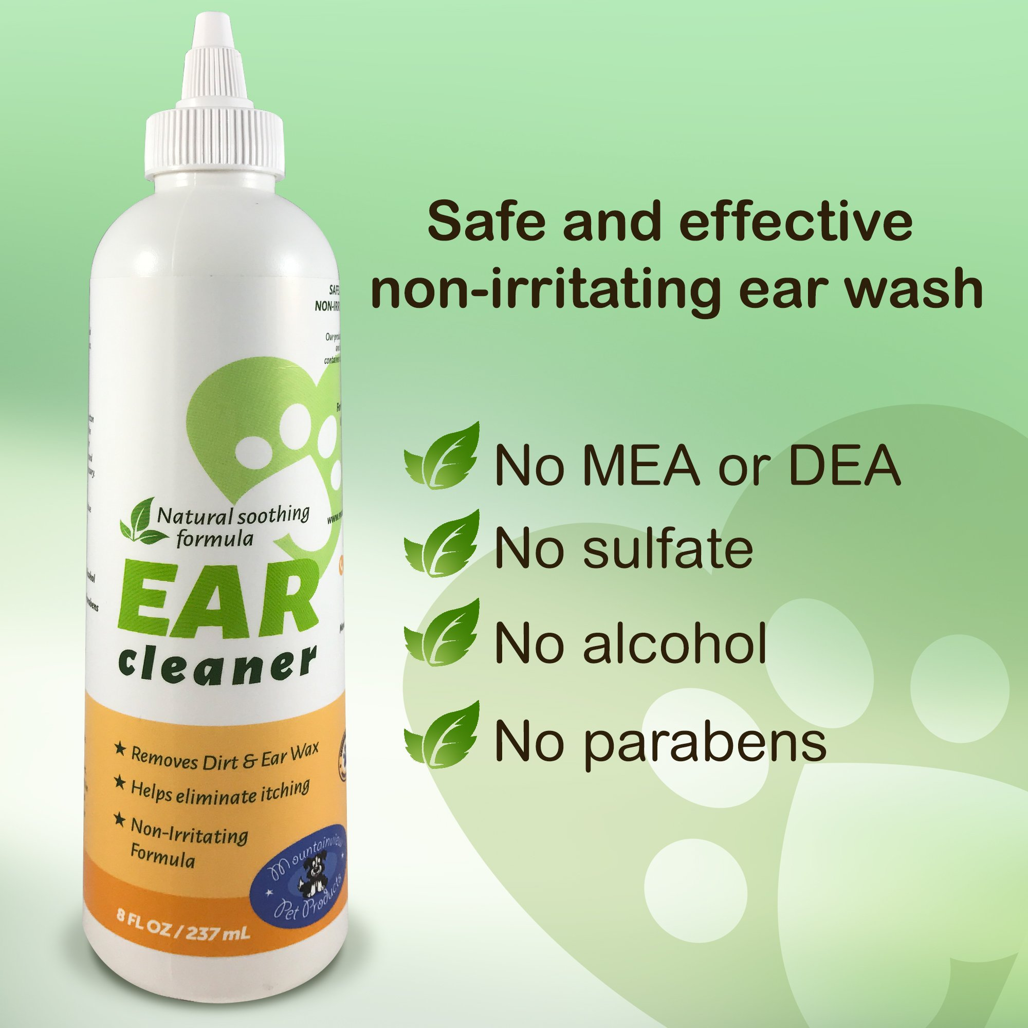 Mountainview Pet Products All Natural Ear Cleaner for Dogs or Cats with Easy Application Nozzle, Gently Removes Wax, Dirt and Odors by Mountainview Pet Products (Image #1)