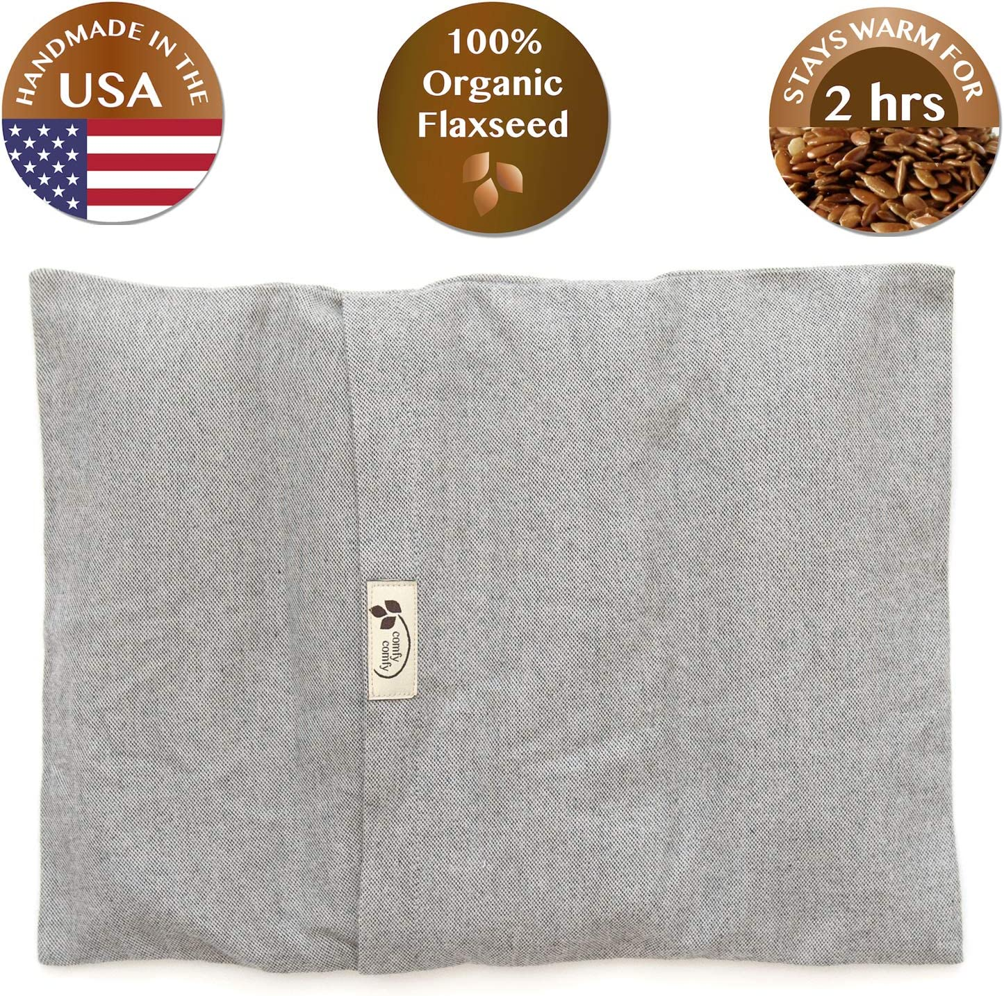 "Comfy Warmer Microwaveable Organic Flaxseed Heating Pad with Washable Case Made in The USA (15"" x 11"", Grey)"