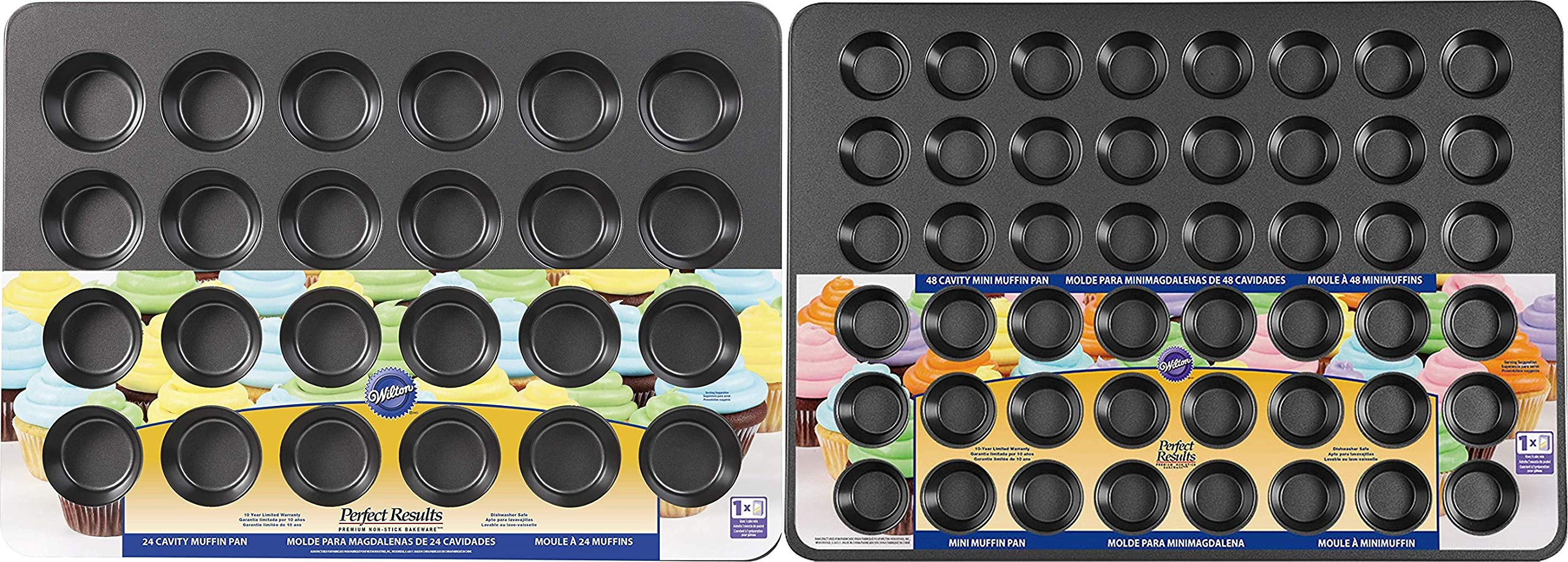 Wilton Non Stick Mega Muffin & Mini Muffin, Cupcake, Bakeware Set (24 Cup & 48 Cup) by Wilton
