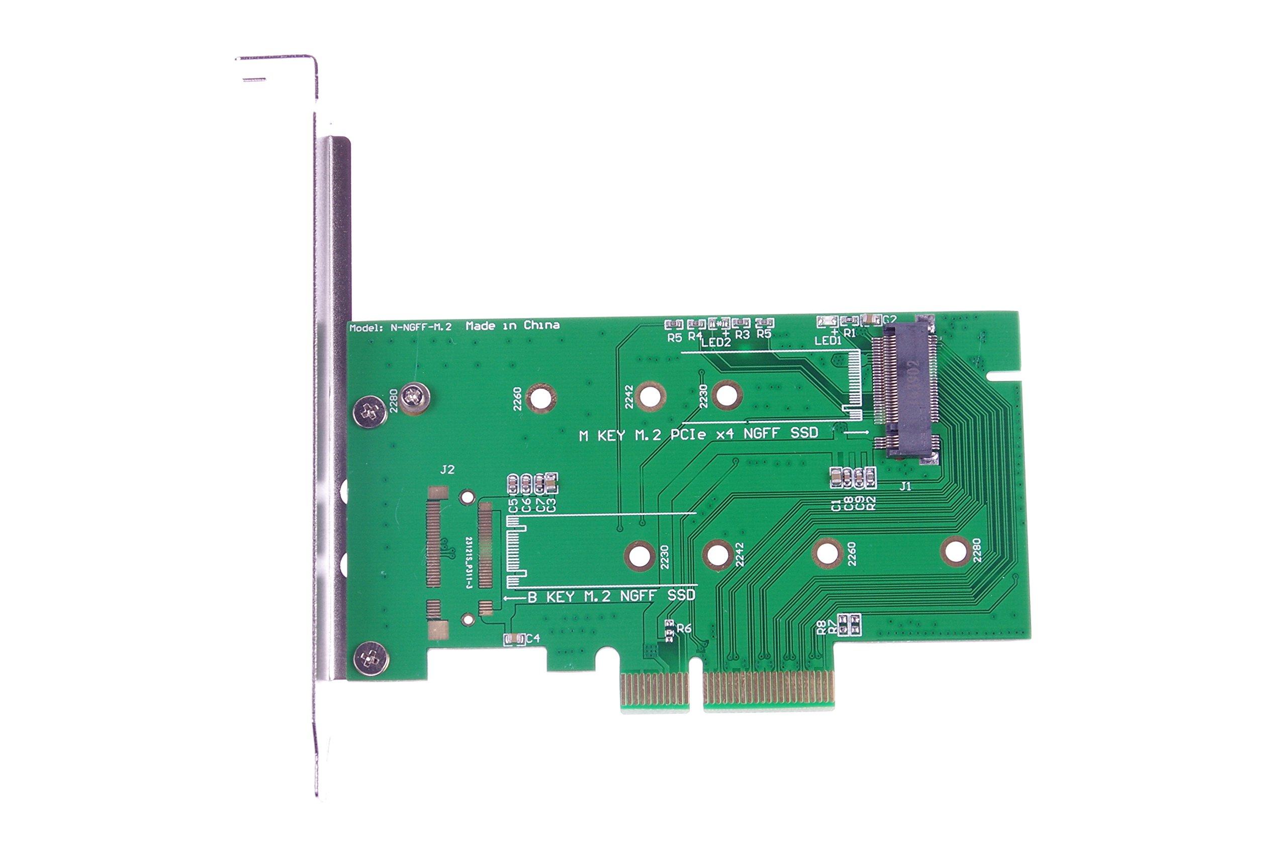KNACRO M Key M.2 PCIe x4 NGFF SSD/B Key M.2 NGFF SSD To PCI-E x4 Adapter Card for Samsung SP941/SM951/A110/M6E