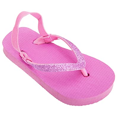 9175d222b1f5c Floso Childrens Girls Plain Toe Post Flip Flops Glitter Strap   Amazon.co.uk  Shoes   Bags