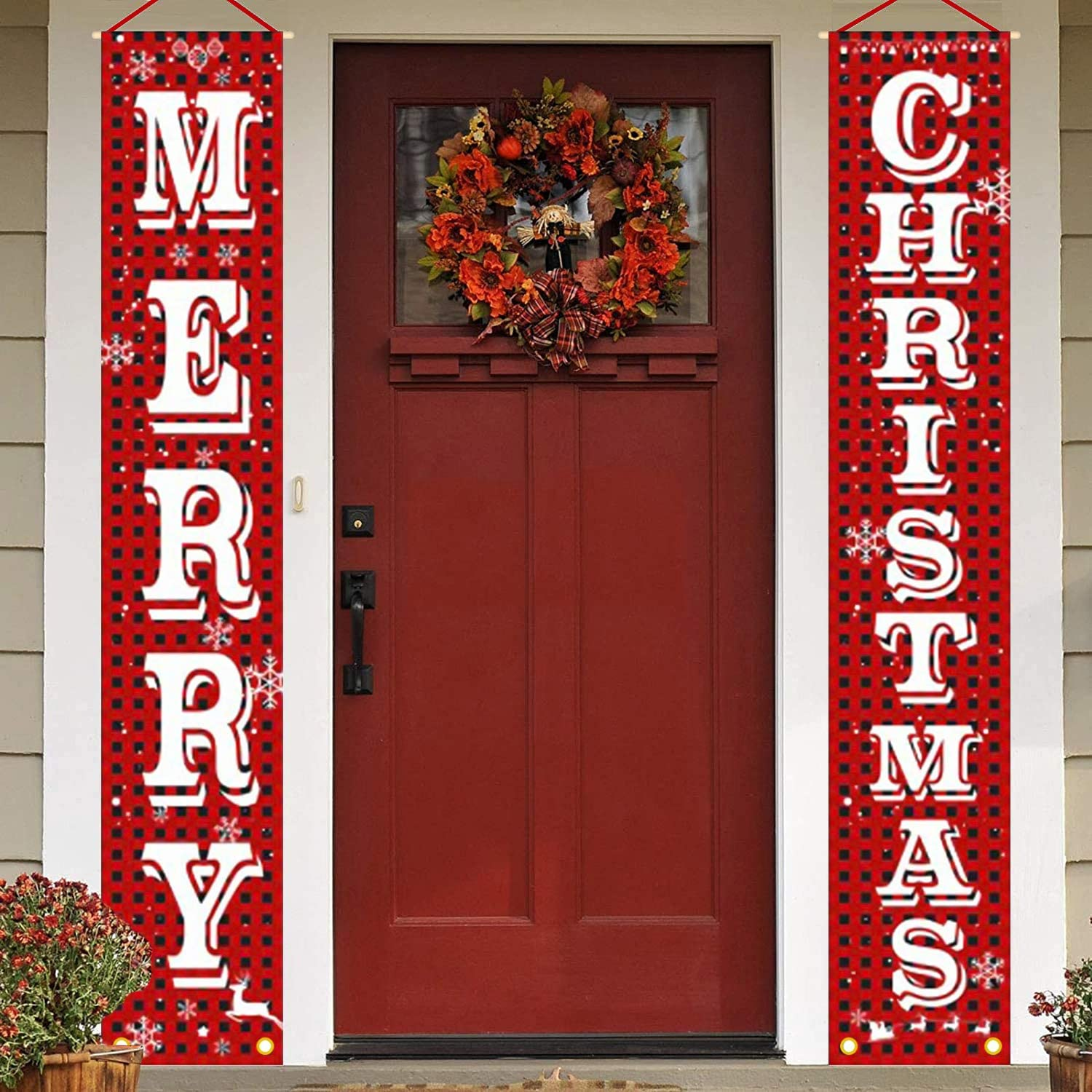 Evoio Merry Christmas Banner, Xmas Decorations Porch Sign, Red Black Buffalo Check Decorations Outdoor Indoor Xmas Decor for Home Wall Front Door Apartment Party Hanging 12 x 72 Inch