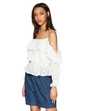 688c8eca30928 ASTR the label Women's Kennedy Lace Up Cold Shoulder Long Sleeve Blouson Top  at Amazon Women's Clothing store: