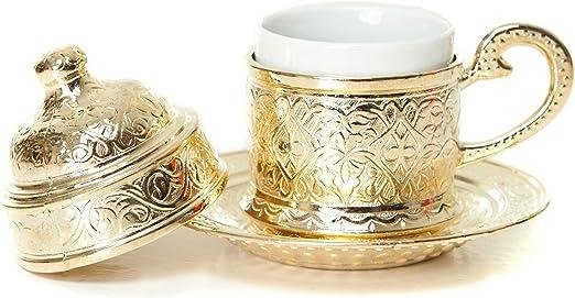 Handgemachtes türkisches Kaffeeset Espresso Kupferbecher Untertassen...