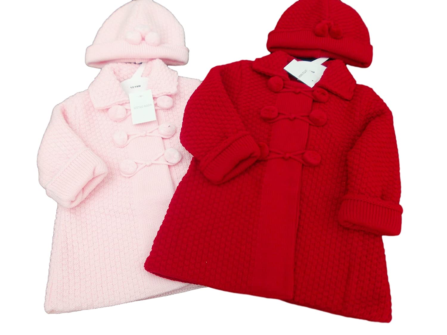 3de003b4fbc6 BNWT Baby Girl Pink deep red Thick Knitted Warm Winter Coat Cardigan ...