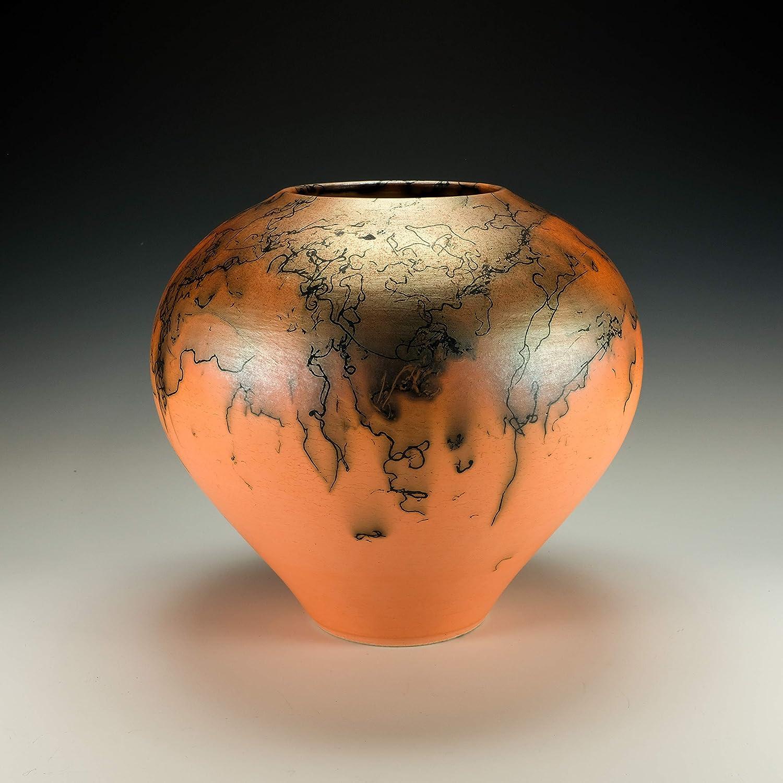 Raku horsehair pottery Hand polished green Terra Sigillata.