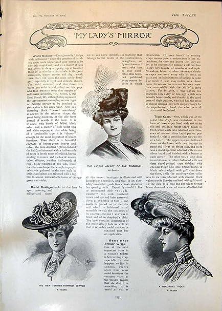 Impresión Antigua de los Abrigos de pieles Arreglados Flor 1904 del Castor de Tricorne de la