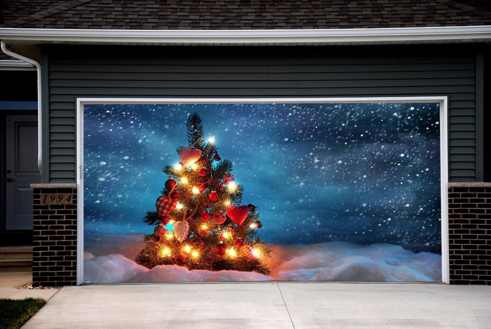 Garage Door Covers Banners Outdoor Full Color House Christmas Tree Billboard Murals for 2 Car Garage Door Holiday Christmas Decor 3D Effect size 82x188 inches DAV21