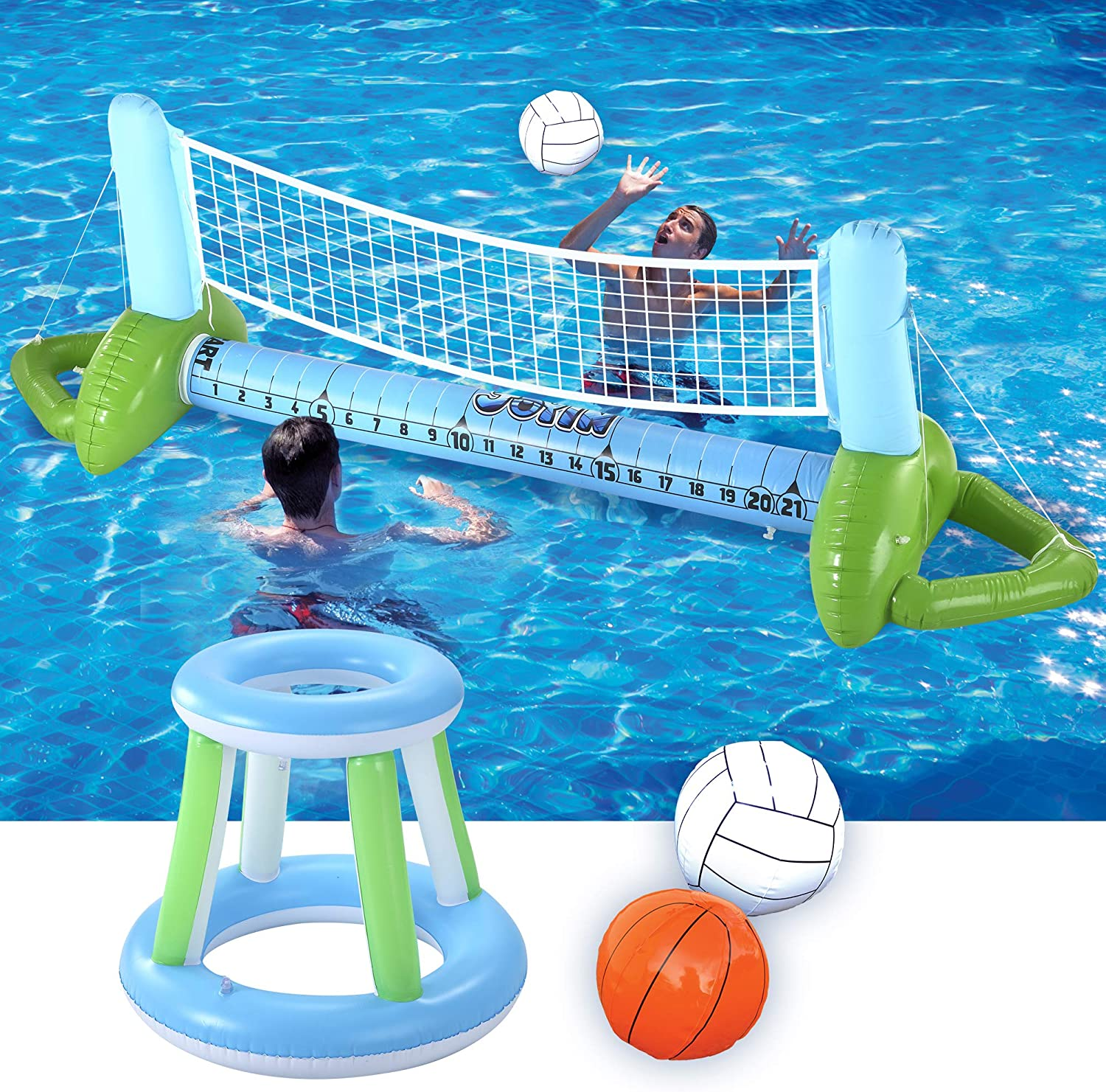JOYIN Inflatable Pool Volleyball Set, Volleyball Net & Basketball Hoops Pool Float Set, Floating Summer Floaties, Volleyball Court Pool Party Lounge Raft, Inflatable Party Fun Swimming Game Toy: Toys & Games